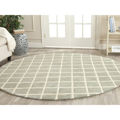 Wilkin Hand-Tufted Gray/Ivory Area Rug Rug Size: Round 7
