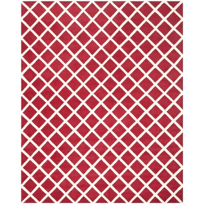 Wilkin Hand-Tufted Red/Ivory Area Rug Rug Size: Rectangle 6 x 9