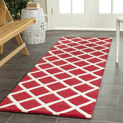 Wilkin Hand-Tufted Red/Ivory Area Rug Rug Size: Runner 23 x 7