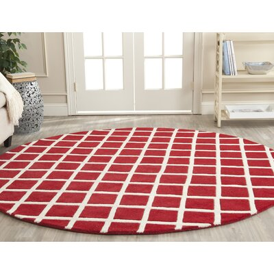 Wilkin Red / Ivory Rug Rug Size: Round 7