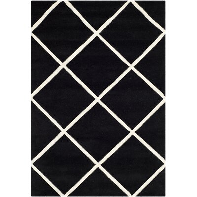 Wilkin Hand-Tufted Black/Ivory Area Rug Rug Size: Rectangle 4' x 6'