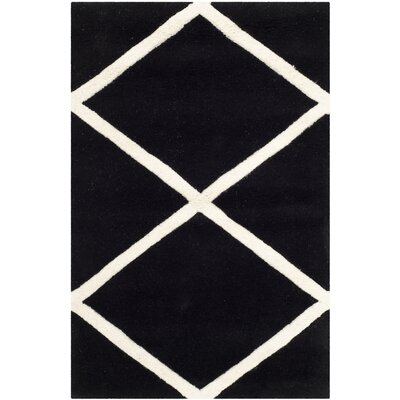 Wilkin Hand-Tufted Black/Ivory Area Rug Rug Size: Rectangle 2 x 3
