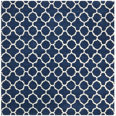 Wilkin Circle Dark Blue & Ivory Area Rug Rug Size: Square 7