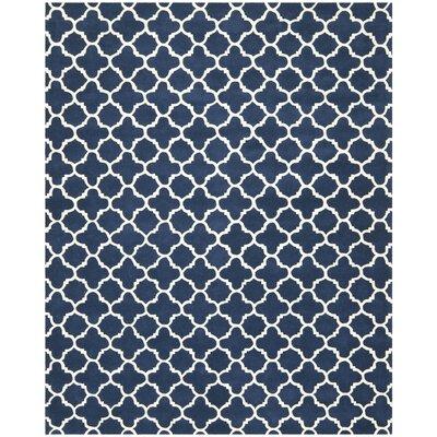 Wilkin Circle Dark Blue & Ivory Area Rug Rug Size: 8 x 10