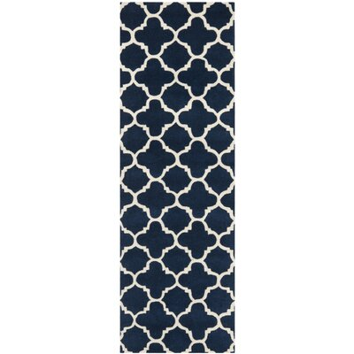 Wilkin Circle Dark Blue & Ivory Area Rug Rug Size: Runner 23 x 11