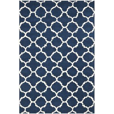 Wilkin Circle Dark Blue & Ivory Area Rug Rug Size: 4' x 6'