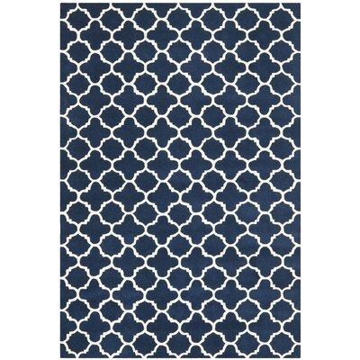 Wilkin Circle Dark Blue & Ivory Area Rug Rug Size: 6' x 9'