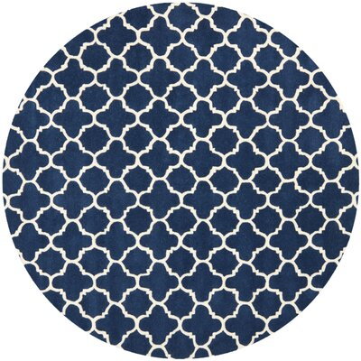 Wilkin Circle Dark Blue & Ivory Area Rug Rug Size: Round 7