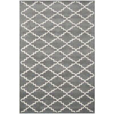 Wilkin Dark Grey & Ivory Area Rug Rug Size: 4 x 6
