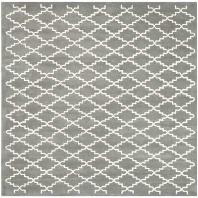 Wilkin Hand-Tufted Dark Gray/Ivory Area Rug Rug Size: Square 7