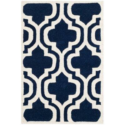 Wilkin Dark Blue & Ivory Area Rug Rug Size: 2 x 3