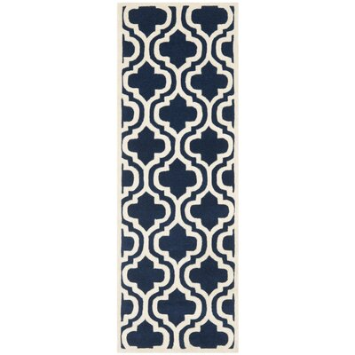 Wilkin Hand-Tufted Dark Blue/Ivory Area Rug Rug Size: Runner 23 x 7