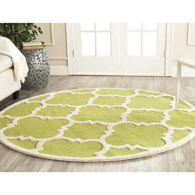 Martins Green / Ivory Area Rug Rug Size: Round 6