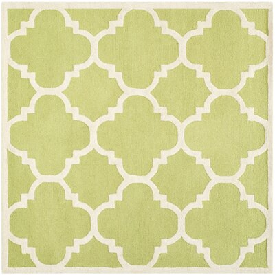 Charlenne Wool Green / Ivory Area Rug Rug Size: Square 6
