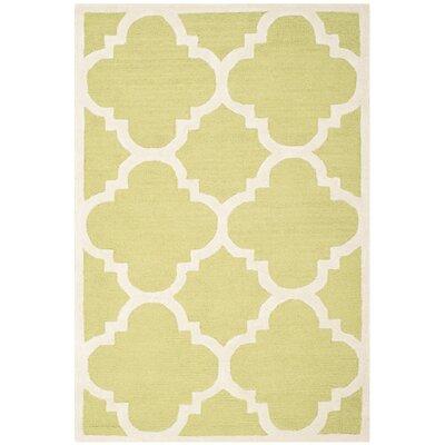 Charlenne Wool Green / Ivory Area Rug Rug Size: 9 x 12