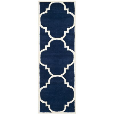 Wilkin Hand-Woven Dark Blue Area Rug Rug Size: Runner 23 x 11