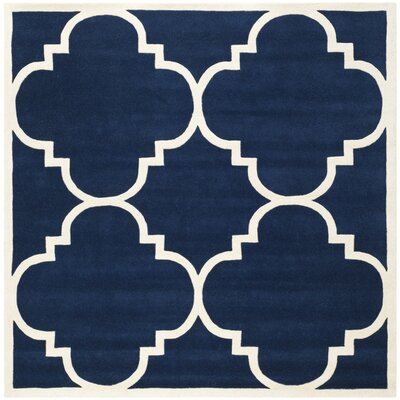 Wilkin Hand-Woven Dark Blue Area Rug Rug Size: Square 7