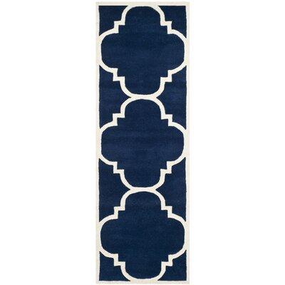 Wilkin Dark Blue & Ivory Area Rug Rug Size: Runner 2'3