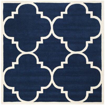 Wilkin Dark Blue & Ivory Area Rug Rug Size: Square 4