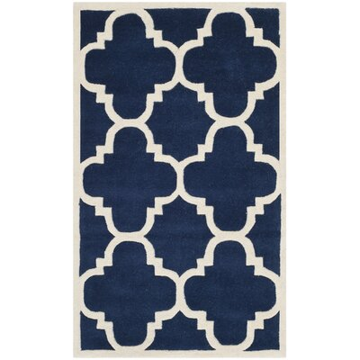 Wilkin Dark Blue & Ivory Area Rug Rug Size: 4 x 6