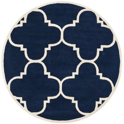 Wilkin Hand-Woven Dark Blue Area Rug Rug Size: Round 5