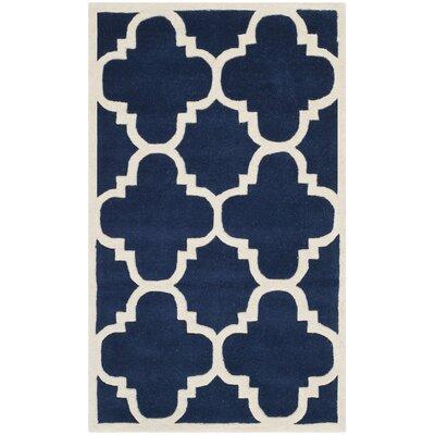 Wilkin Dark Blue & Ivory Area Rug Rug Size: 10 x 14