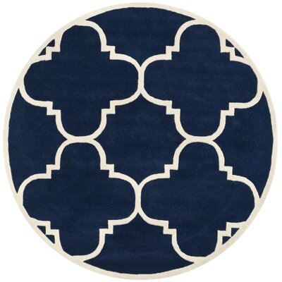 Wilkin Dark Blue & Ivory Area Rug Rug Size: Round 5