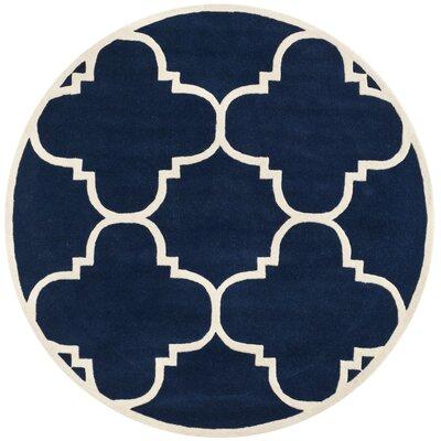 Wilkin Dark Blue & Ivory Area Rug Rug Size: Round 4