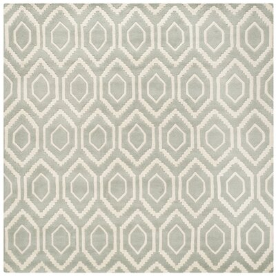 Wilkin Hand-Tufted Gray/Ivory Area Rug Rug Size: Square 4