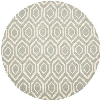 Wilkin Grey & Ivory Area Rug Rug Size: Round 5