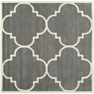 Wilkin H-Tufted Dark Gray Area Rug Rug Size: Square 4