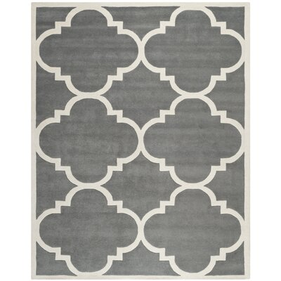 Wilkin Hand-Tufted Dark Gray/Ivory Area Rug Rug Size: Rectangle 4 x 6