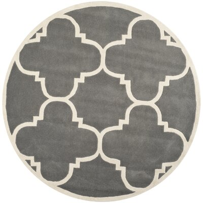 Wilkin H-Tufted Dark Gray Area Rug Rug Size: Round 4