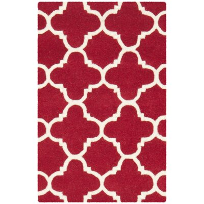 Wilkin Red & Ivory Area Rug Rug Size: Rectangle 6 x 9