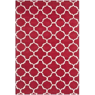 Wilkin Red & Ivory Area Rug Rug Size: 4 x 6