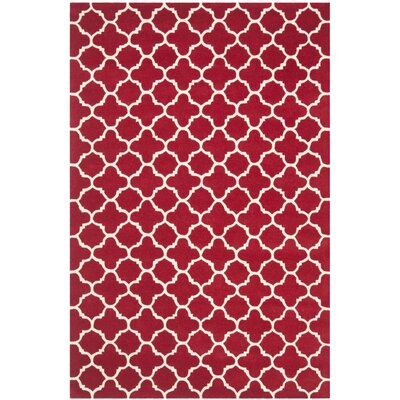 Wilkin Red & Ivory Area Rug Rug Size: 6 x 9