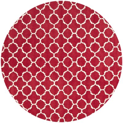 Wilkin Red &  Area Rug Rug Size: Round 7