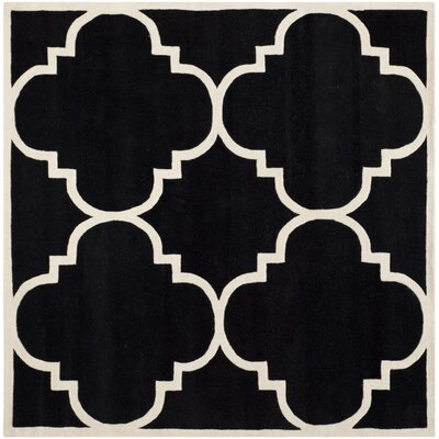 Wilkin Hand-Tufted Black/Ivory Area Rug Rug Size: Square 7