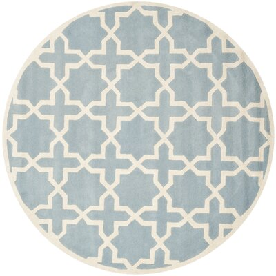 Wilkin Hand-Tufted Blue/Ivory Area Rug Rug Size: Round 5'