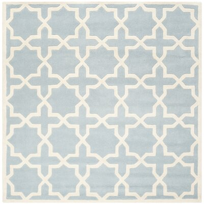 Wilkin Hand-Tufted Blue/Ivory Area Rug Rug Size: Square 5