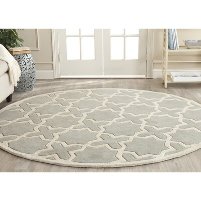 Wilkin Hand-Woven Gray Area Rug Rug Size: Round 4