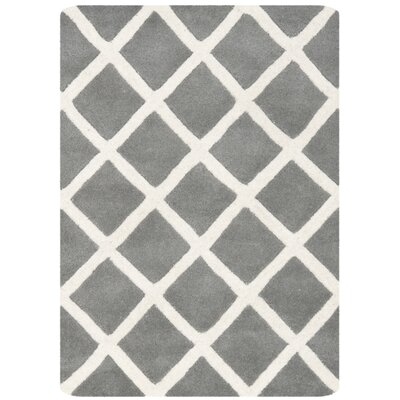 Wilkin Hand-Tufted Dark Gray/Ivory Area Rug Rug Size: Rectangle 89 x 12