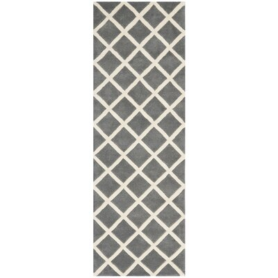 Wilkin Hand-Tufted Dark Gray/Ivory Area Rug Rug Size: Runner 23 x 11