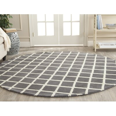 Wilkin Cross Dark Grey & Ivory Area Rug Rug Size: Round 7'