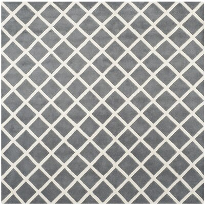 Wilkin Cross Dark Grey & Ivory Area Rug Rug Size: Square 7