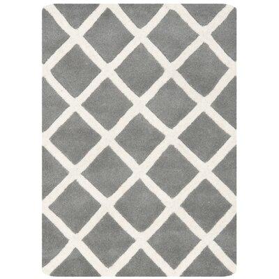 Wilkin Cross Dark Grey & Ivory Area Rug Rug Size: 3 x 5