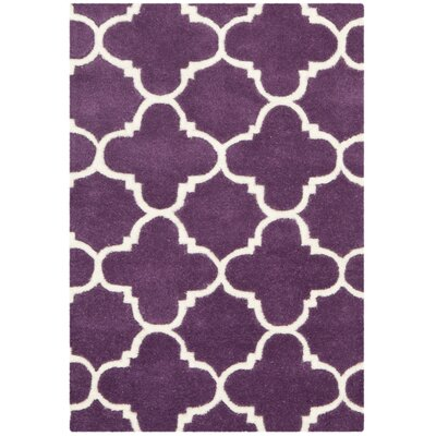 Wilkin Purple & Ivory Area Rug Rug Size: 5 x 8
