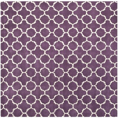 Wilkin Purple & Ivory Area Rug Rug Size: Square 7