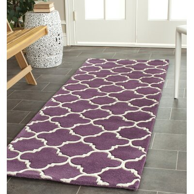 Wilkin Purple & Ivory Area Rug Rug Size: Runner 23 x 9