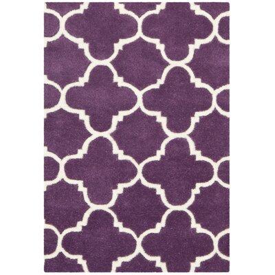 Wilkin Purple & Ivory Area Rug Rug Size: 4' x 6'